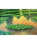 """T. Denver-""""Lily Pond""""-Original Oil Painting on Stretched Canvas, Hand Si... - $327.75"""