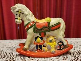 Vintage Carousel Rocking Horse Ceramic Penny Bank - $18.70