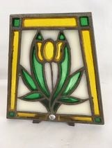 Vintage Wrought Cast Iron Stain Glass Votive Candle Holder image 4