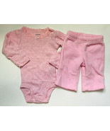 Baby Girl's Size NB Newborn Two Piece Carter's Pink L/S Lace Top & Fleec... - $16.00