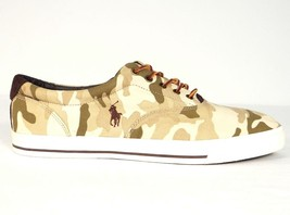 Polo Ralph Lauren Vaughn Tan Camouflage Casual Shoes Sneakers Mens NEW - $52.49