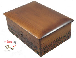 Extra Large Wood Box w/Lock and Key Polish Handmade Wooden Jewelry Box K... - €56,12 EUR