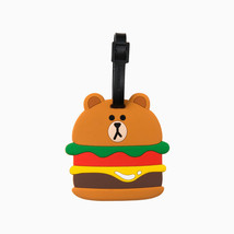LINE FRIENDS Character Silicon Luggage Name Tag BURGER BROWN Official Goods - $28.70