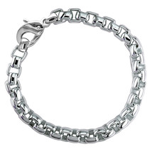 Extra Large Rounded Box Links Bracelet in Sterling Silver - $630.00