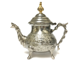 Unique Moroccan Handmade Embossed Engrave Design Silver Serving Tea/Coff... - $110.00