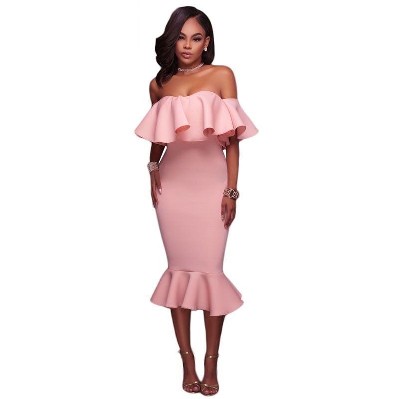 Off Shoulder Ruffle Midi Dress  at bling brides bouquet online bridal store image 5