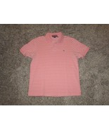VINEYARD VINES Pink & White Striped Short Sleeve Polo Shirt, Men's Medium - $19.79