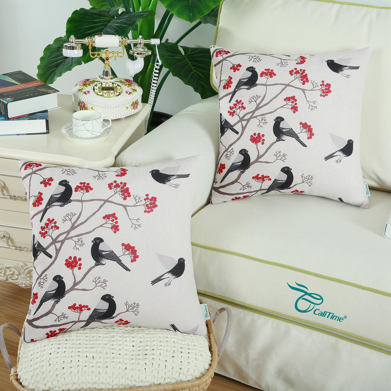 "CaliTime Throw Pillow Cover Chickadees Birds Red Floral Tree 18""X18"" Black Bird"