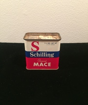 Vintage Schilling Mace spice tin packaging