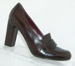Enzo Angiolini Everest burgundy leather round toe slip on loafer block h... - $33.30
