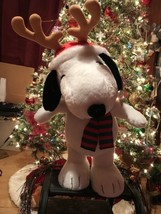 Peanuts Snoopy Christmas Reindeer Plush Holiday Greeter NEW - $40.00