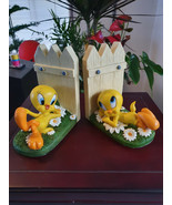 Extremely Rare! Looney Tunes Tweety Chillin Outside Figurine Bookends St... - $346.50