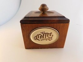 Vintage Coffee Grounds Beans Storage Container Box Chestnut Wooden - $22.76