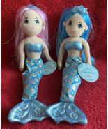 Crystal & Saphire Sea Sparkles Shiny Plush Mermaids Aurora World Plush N... - $16.99