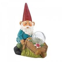 Gnome With Wheel Barrow Solar Statue - $28.95