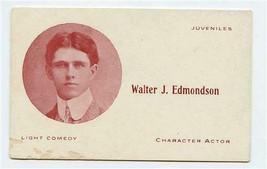 Walter J Edmondson Character Actor Photo Business Card 1900's - $11.88