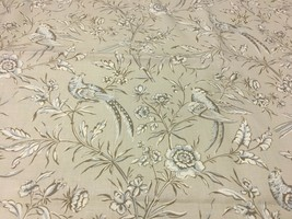 Scalamandre Aviary Taupe Linen Print Upholstery Drapery Fabric 4.875 yds - $277.88