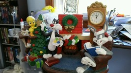 Extremely Rare! Looney Tunes Christmas Table Clock Figurine Statue - $346.50