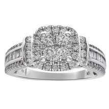 0.90 Carat Diamond Square Shaped Cluster Halo Ring 10K White Gold - $692.01
