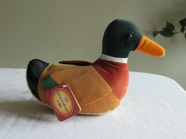 RUSS Plush Mallard Duck Bird Stuffed Animal Fabric Corduroy Oxford Colle... - $18.99