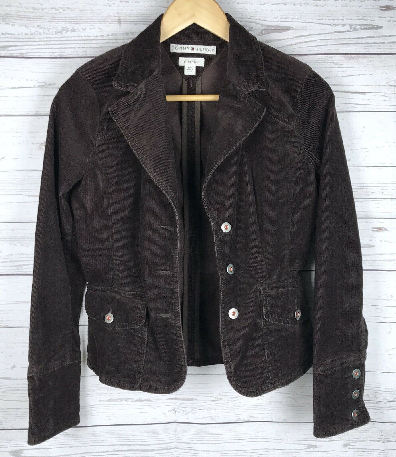 Tommy Hilfiger Corduroy Blazer Jacket Women's S Brown Stretch Button Long Sleeve image 7