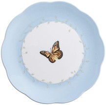 "Lenox ""Butterfly Meadow"" Monarch DESSERT PLATE FLORAL BLUE/MULTI COLOR 8... - $19.40"