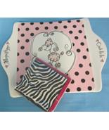 Pink Poodle Dog Ceramic Tray Collectible Wall Hanging Serving Dish & Nap... - $45.00