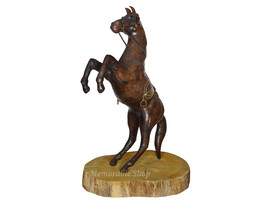 Handmade Leather Horse With Saddle Standing on Hind Legs Figurine on Woo... - $98.00