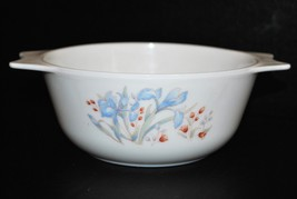 Vintage Pyrex England Blue Iris Milk Glass Casserole 1986 - $14.01