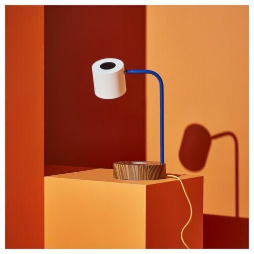 IKEA FÖRNYAD LED work lamp w/wireless charging, blue, white