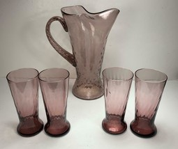 5 Pc  Diamond Optic Amethyst Pitcher & 4 footed glasses Empoli Region Italy - $72.57