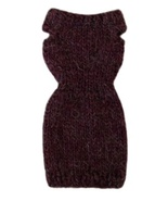 Barbie Doll Clothes Knit Alpaca Blend Burgundy Sweater Dress Handmade - $6.49