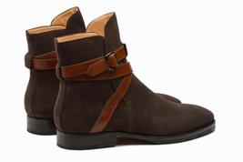 Handmade Men's Dark Brown Jodhpur Monk Strap High Ankle Suede Boots image 3