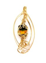 WIRE WRAPPED JEWELRY YELLOW & GREEN AMETRINE GEMSTONE PENDANT gold fille... - $84.15