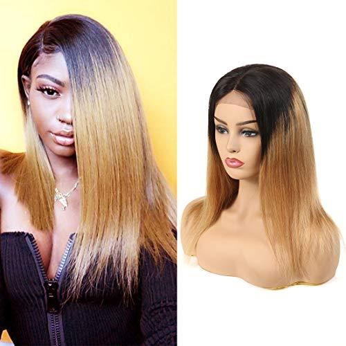 RACILY 1B/27 Ombre Straight Human Hair Wigs 1 Piece Lace Front Black Roots to Bl