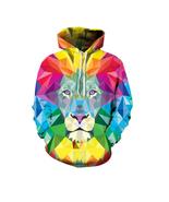 Nice Stylish Men/Women 3d Sweatshirt Print Watercolor Colorful Blocks Lion - $27.00