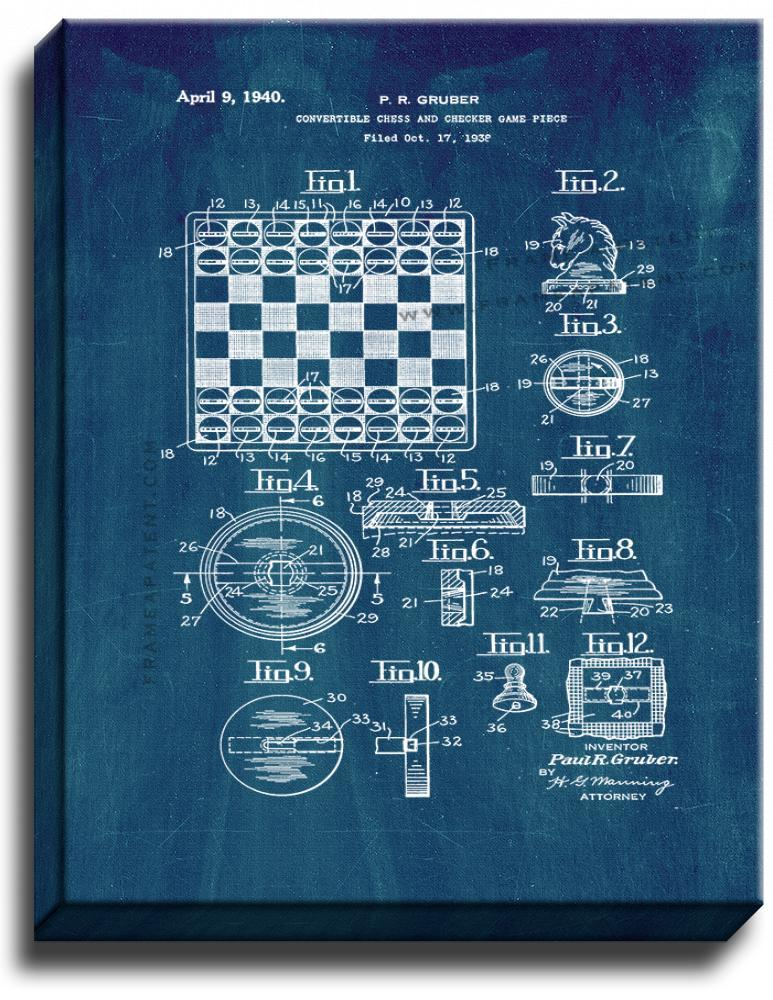 Primary image for Convertible Chess and Checker Game Piece Patent Print Midnight Blue on Canvas