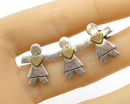 NALDO 925 Silver - Vintage Two Tone Doll Chain Love Heart Brooch Pin - B... - $38.52
