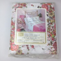 NOS 60s VTG New Sealed KING FLAT Bed Sheet Sears Pink Floral Flower Power Shabby - $38.80