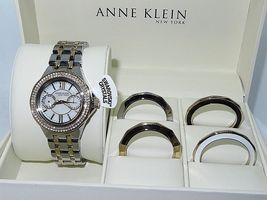 Anne Klein Women 2 Tone Gold Crystal Stainless Interchangeable Watch 12/... - $75.00