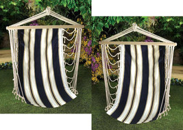 Two (2) swinging cotton Navy striped yard camping rope wood hammock tree... - $57.00