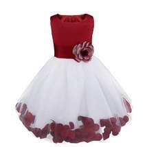 Flower Girls Dress Bridesmaid Flower Petals Formal Dress In 15 Colors - £45.60 GBP