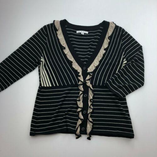 CAbi Cardigan Sweater Womens Small Black Stripe 3/4 Sleeve Ruffle Button B13-03P