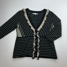 CAbi Cardigan Sweater Womens Small Black Stripe 3/4 Sleeve Ruffle Button... - $11.51