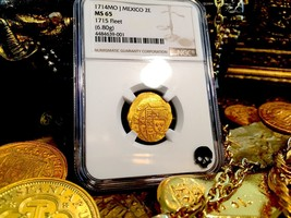 "Mexico 1714 2 Escudos Ngc 65 ""1715 Fleet"" Shipwreck Doubloon Gold Treasure Coin - $12,500.00"