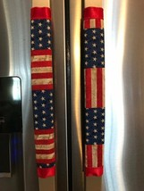 Refrigerator Door Handle Covers Set of 2 USA Flag Theme 13L X5W - $12.99