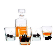 Personalized Decanter Set with Black Whiskey Stones - $64.95