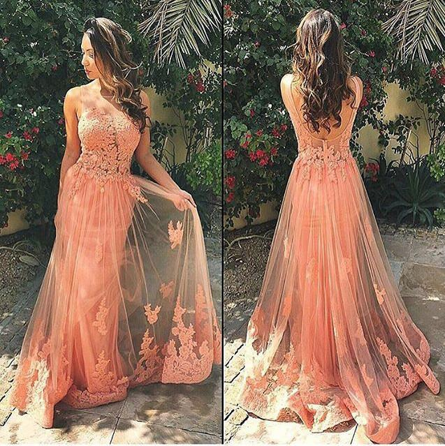 Lace Prom Dresses,Long Prom Dress,Dresses For Prom,Coral Prom Dresses
