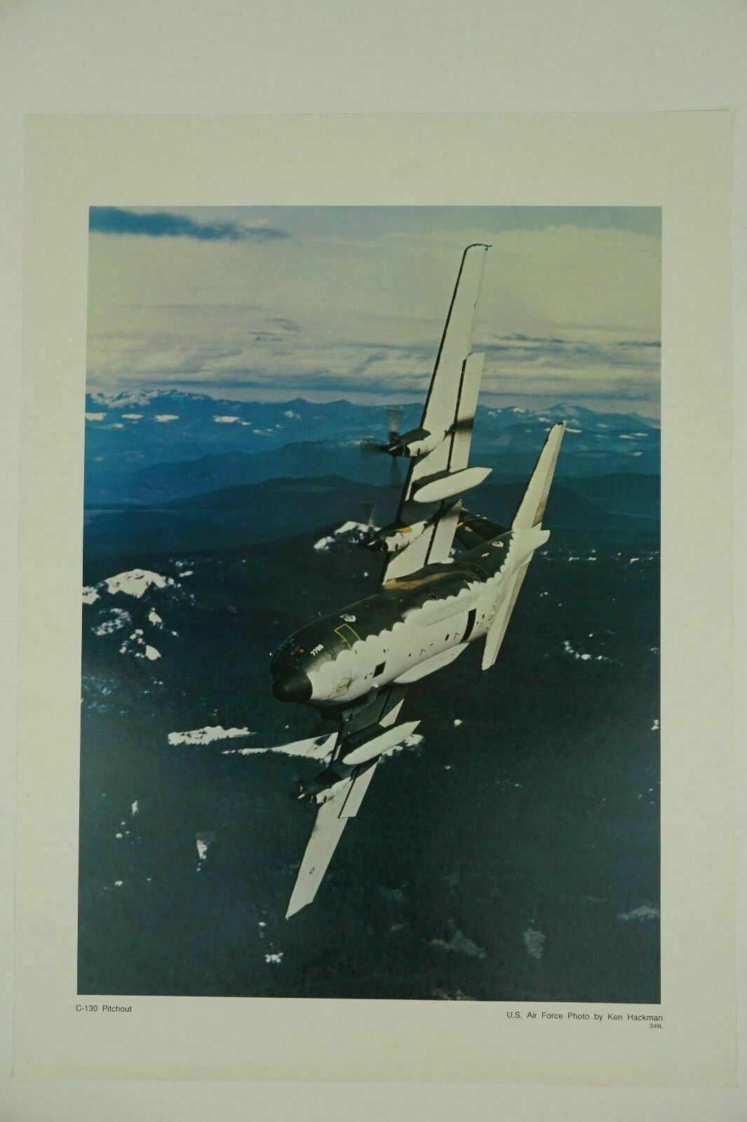 Primary image for US Air Force C-130 Pitchout Lithograph Print Artwork Poster USAF Ken Hackman