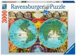 "Ravensburge Antique Map 3000 Piece Puzzle 54"" x 24"" Extra-thick Cardboar... - $65.44"
